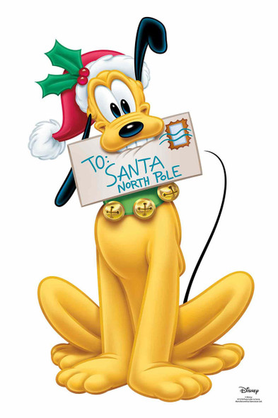 Pluto with Letter to Santa Christmas Official Disney Cardboard Cutout