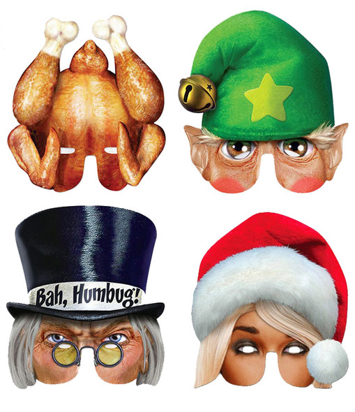 Christmas Bah Humbag Card Party Half Face Mask Variety Pack of 4
