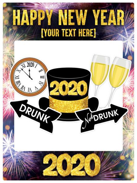 Personalised Happy New Year Foamex Selfie Photo Frame and Props