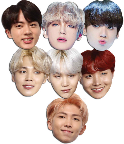 BTS Bangtan Boys 2D Card Party Face Masks Variety Pack of 7