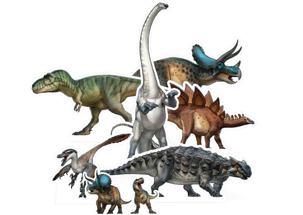 Natural History Museum Dinosaur Table Top Cardboard Cutouts Party Pack of 8