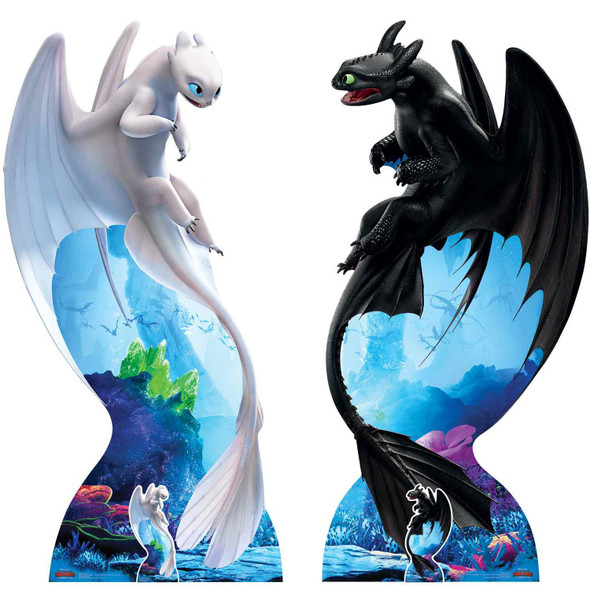 Toothless and Light Fury from How to Train Your Dragon 3 Official Cardboard Cutout - Set of 2