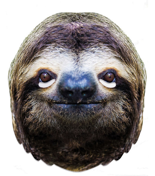 Sloth Animal Single 2D Card Party Face Mask