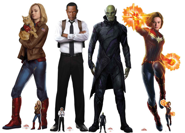 Captain Marvel Characters Official Cardboard Cutout Set of 4