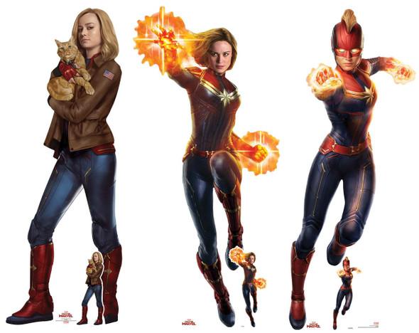 Captain Marvel Carole Danvers Official Cardboard Cutout Set of 3