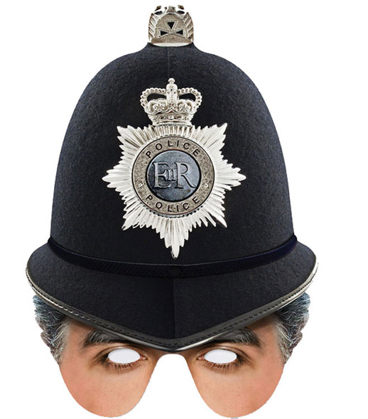 British Policeman Single 2D Card Party Half Face Mask