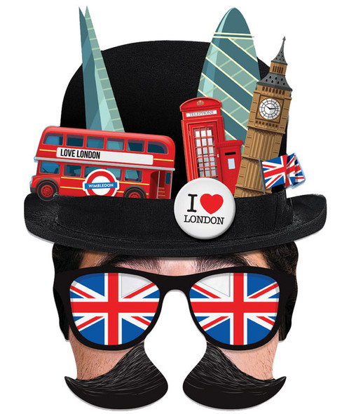 London Tourist Bowler Hat Single 2D Card Party Face Mask