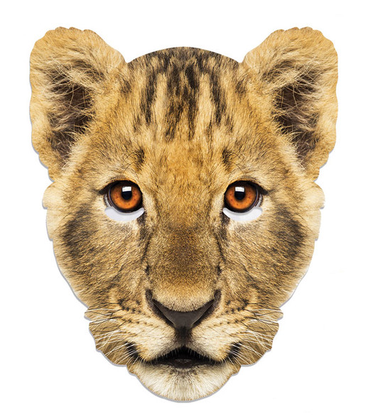 Lion Cub Animal Single 2D Card Party Face Mask