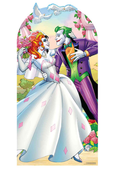 Harley Quinn and The Joker Wedding Style Stand In Cardboard Cutout with faces