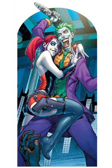 Harley Quinn and The Joker with Knife Official Lifesize Stand In Cardboard  with faces