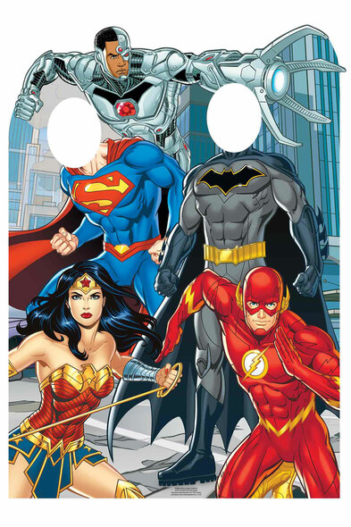 Justice League Comic Style Official Child Size Stand In Cardboard Cutout