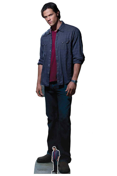 Sam Winchester Red T-Shirt from Supernatural Official Lifesize Cardboard Cutout
