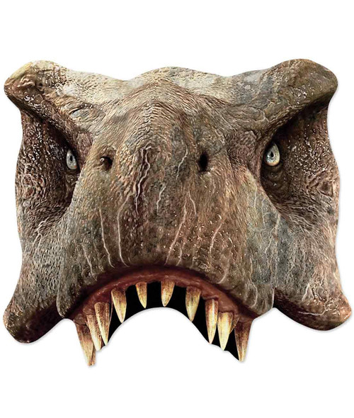 Tyrannosaurus Rex Jurassic World 2D Single Card Party Half Face Mask