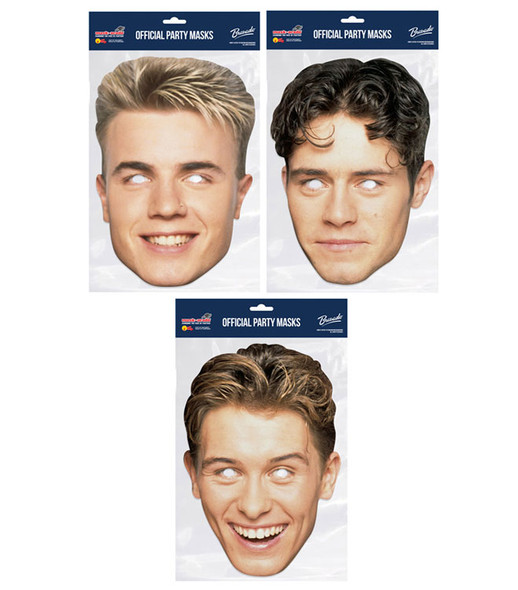Take That Retro Style Official 2D Card Party Face Masks Variety 3 Pack
