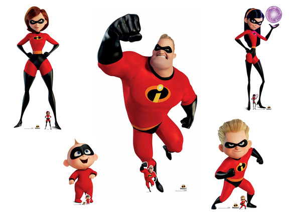 The Incredibles Family Official Disney Cardboard Cutout Set