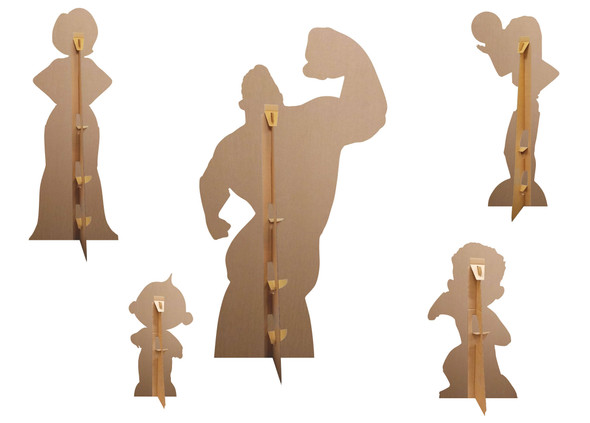 Rear view of The Incredible family set of cardboard cutouts