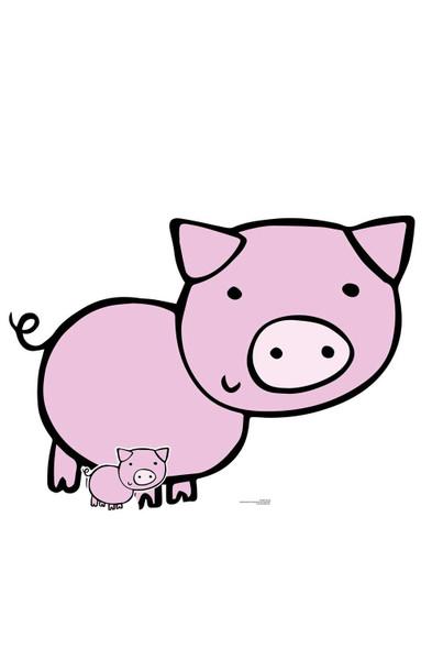 Cute Farmyard Pig Cardboard Cutout / Standee