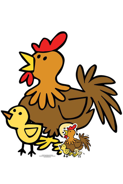 Cute Chicken with Chicks Animal Cardboard Cutout / Standee / Standup