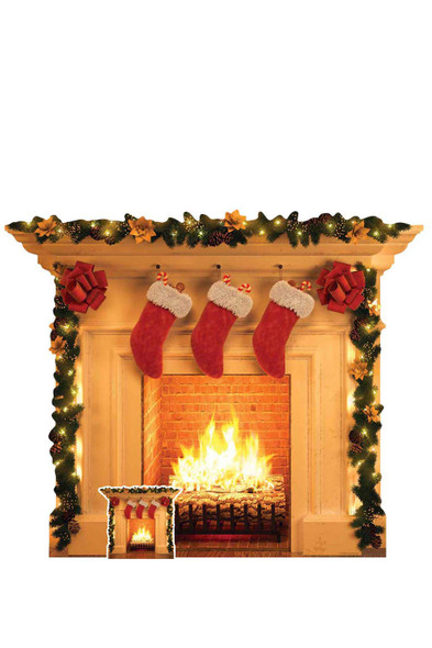 Christmas Fireplace Cardboard Cutout / Standup / Standee