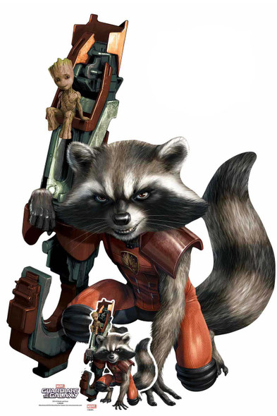 Rocket Raccoon and Baby Groot Official Marvel Cardboard Cutout