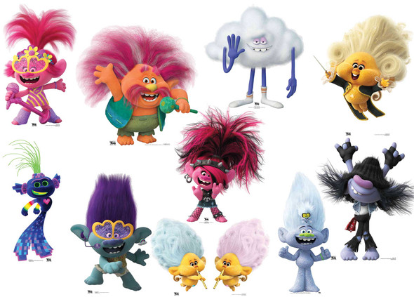 Trolls World Tour Official Cardboard Cutout Set of 10