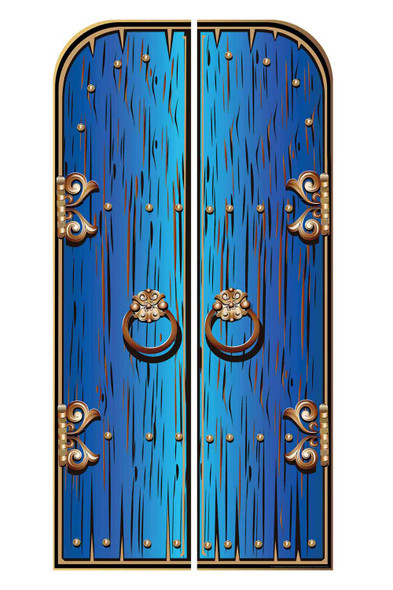Magical Fantasy Blue Double Doors Cardboard Decor