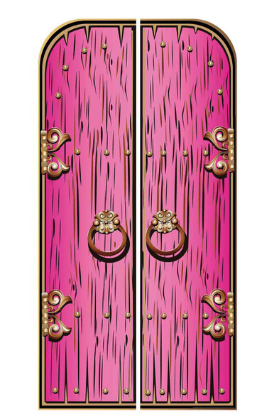 Magical Fantasy Pink Double Doors Cardboard Decor