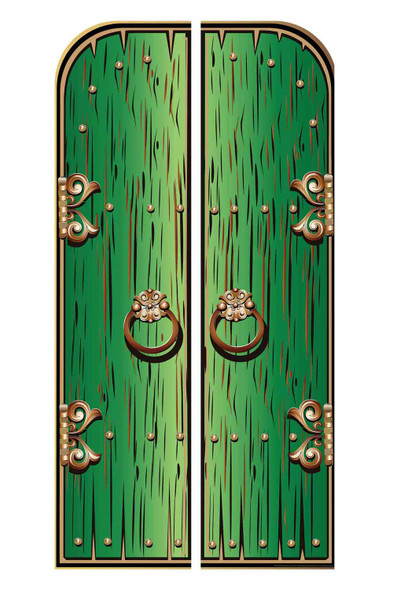 Magical Fantasy Green Double Doors Cardboard Decor