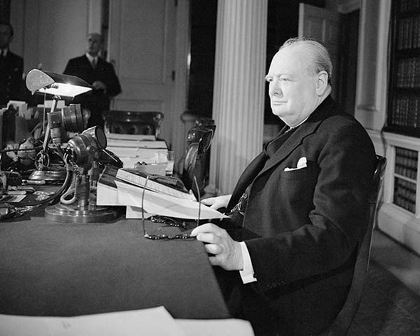 Winston Churchill about to broadcast victory speech on VE Day 8th May 1945. Available as a photo, poster or canvas.