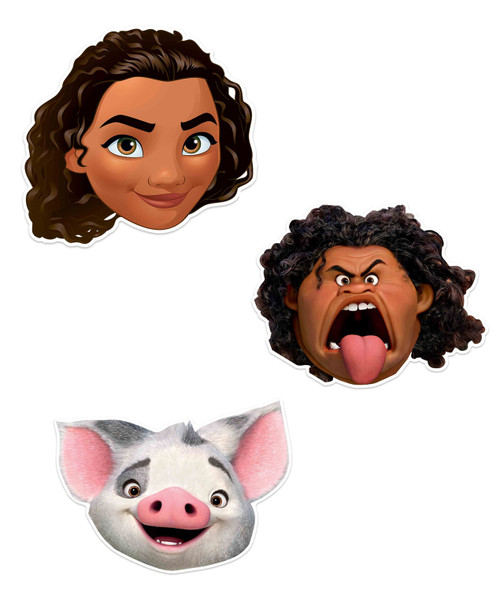 Moana Official Disney Child Size 2D Party Mask Variety 3 Pack