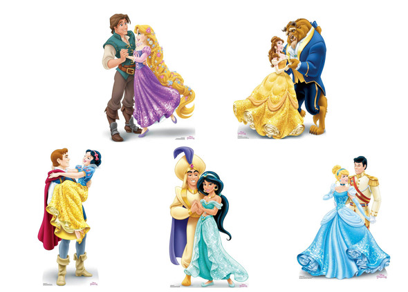 Disney Princess Official Mini Cardboard Cutouts - Set of 5