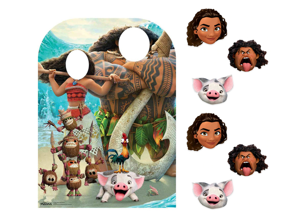 Moana Party Pack Official Disney Cardboard Stand in and Masks