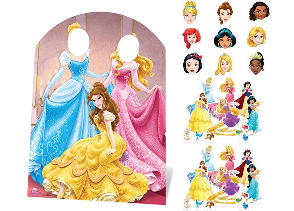 Disney Princess Party Pack with Cardboard Stand In, Masks and Tabletops