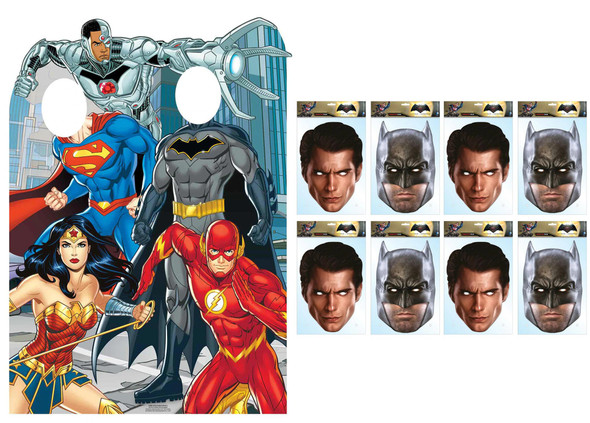 Justice League Party Pack with Official Cardboard Stand In and Masks