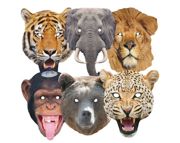 Wild Animals Variety 2D Card Party Masks 6 Pack