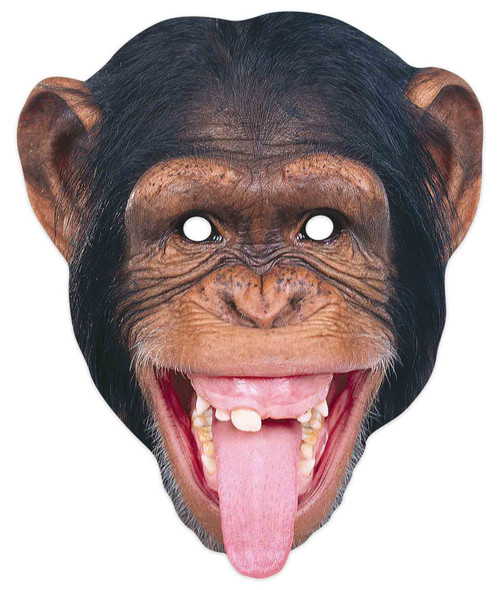 Chimpanzee 2D Animal Single Card Party Mask