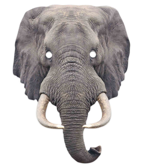 Elephant 2D Animal Single Card Party Mask