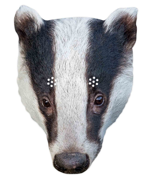 Badger 2D Animal Single Card Party Mask
