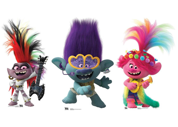 Trolls World Tour Cardboard Cutout Triple Pack with Poppy, Branch and Barb