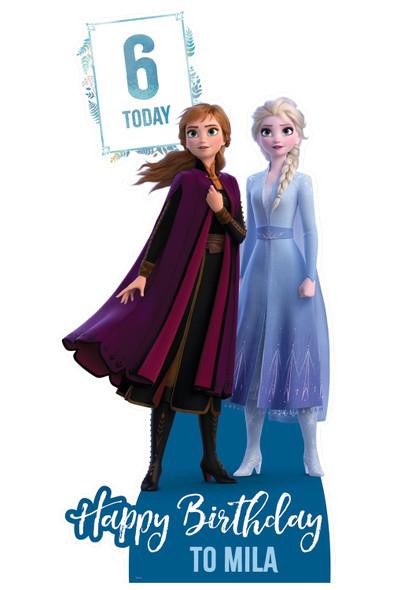 Frozen Disney Personalised Happy Birthday Cardboard Cutout / Standup in situ