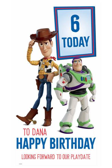 Toy Story Disney Personalised Happy Birthday Cardboard Cutout in situ