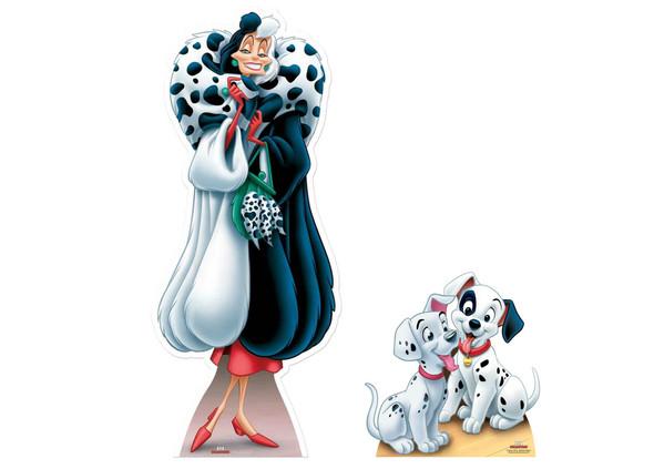 Dalmatians and Cruella De Vil Official Disney Cardboard Cutout Twin Pack