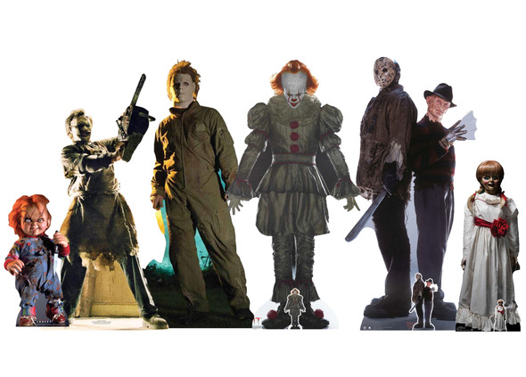 Icons of Horror Cardboard Cutouts Set of 6 with Freddy, Jason and Chucky Standees