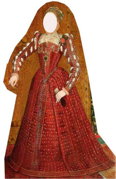 Tudor Woman Stand in Cardboard Cutout
