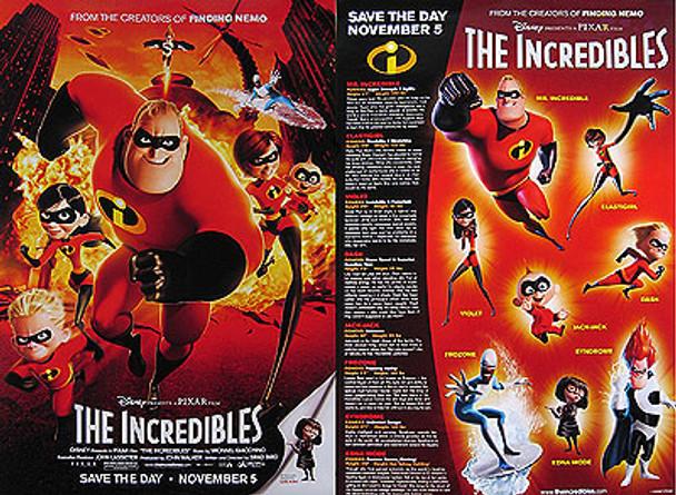 THE INCREDIBLES (Two Sided Hero & Stats Mini) (2004) Original Mini CINEMA POSTER