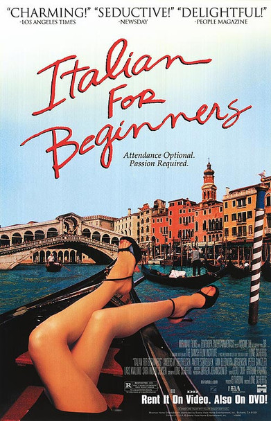 ITALIAN FOR BEGINNERS (Single Sided Video) ORIGINAL VIDEO/DVD AD POSTER