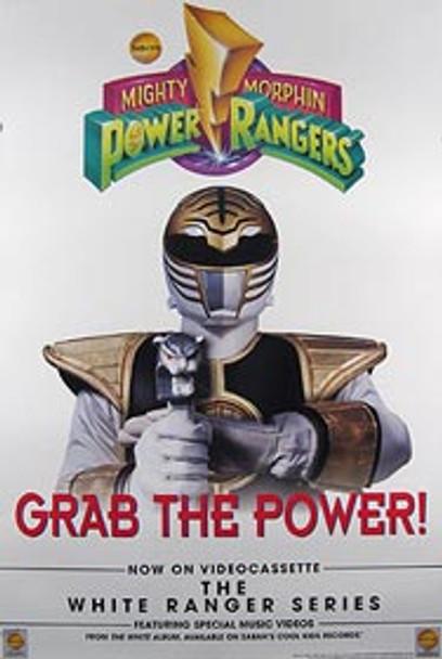MIGHTY MORPHIN POWER RANGERS (Single Sided) ORIGINAL Video POSTER (White Ranger Series)