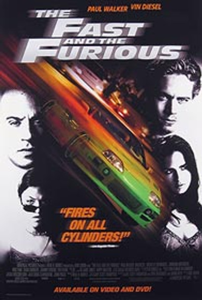 THE FAST AND THE FURIOUS (Video) ORIGINAL VIDEO/DVD AD POSTER