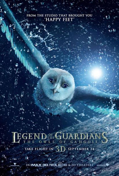LEGEND OF THE GUARDIANS: THE OWLS OF GA'HOOLE Poster - (Hugo Weaving, Helen Mirren) double sided ADVANCE US ONE SHEET (2010) ORIGINAL CINEMA POSTER