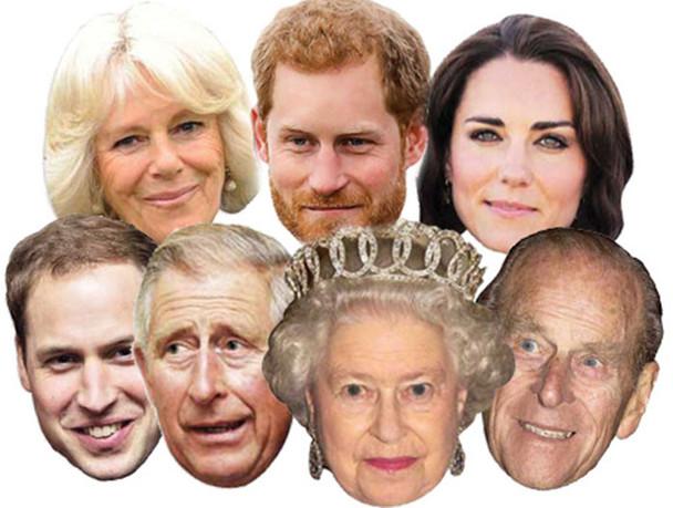 Diamond Jubilee - Royal Family Face Mask Set of 7